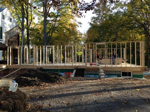 Framing starts in new rear section, October 2014