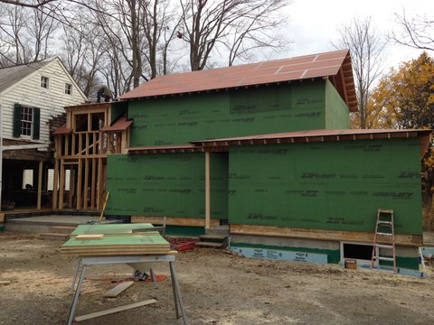 Exterior siding going on to new section